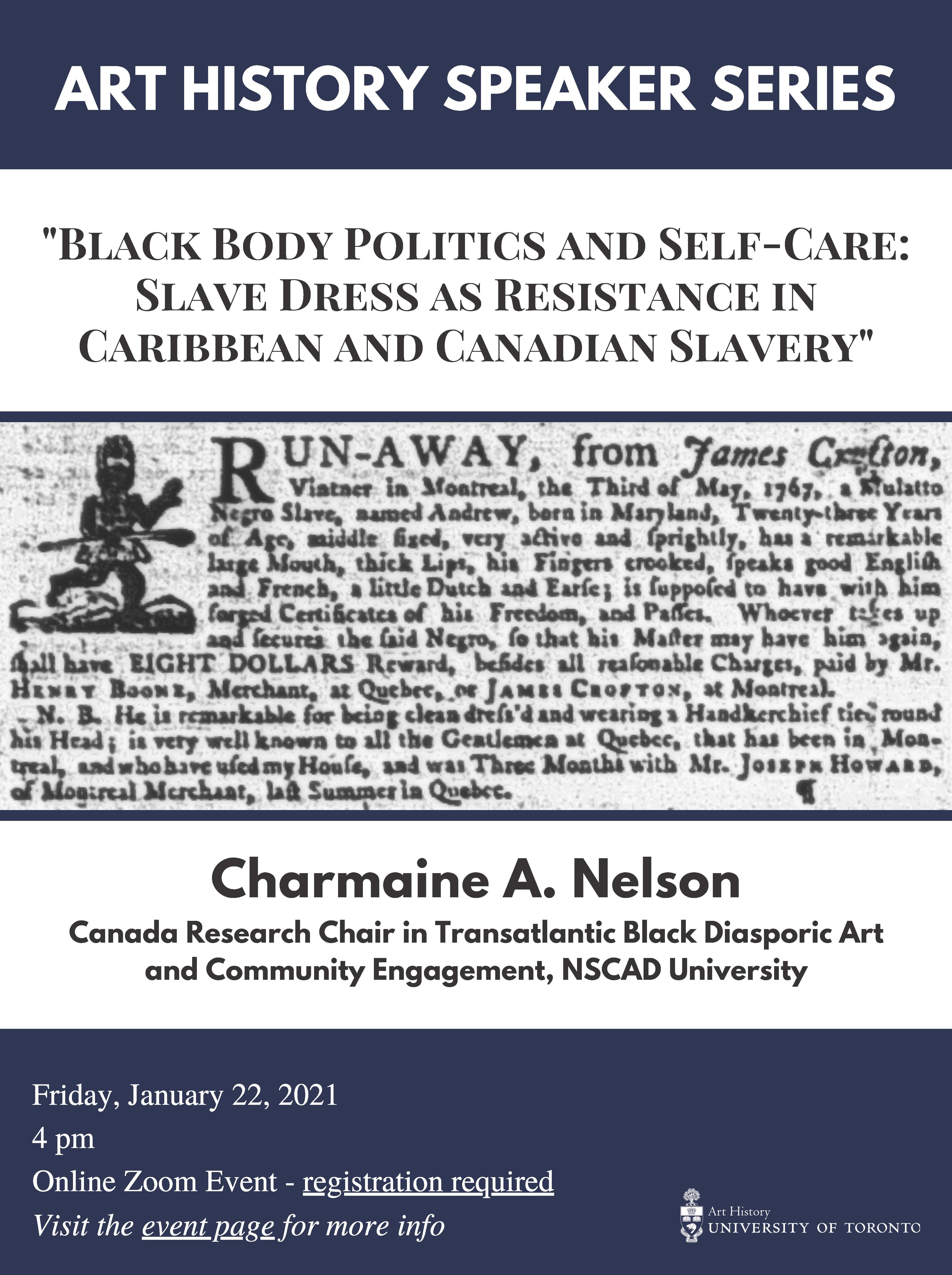 Charmaine A Nelson Art History Speaker Series poster