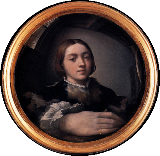 Self-portrait in a Convex Mirror, Parmigianino, 1524, Oil on convex panel