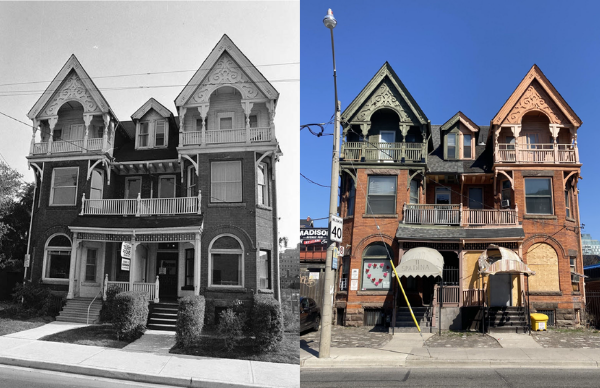 Picture of 9 & 11 Spadina Road from 1976 beside a picture from the homes as they currently look