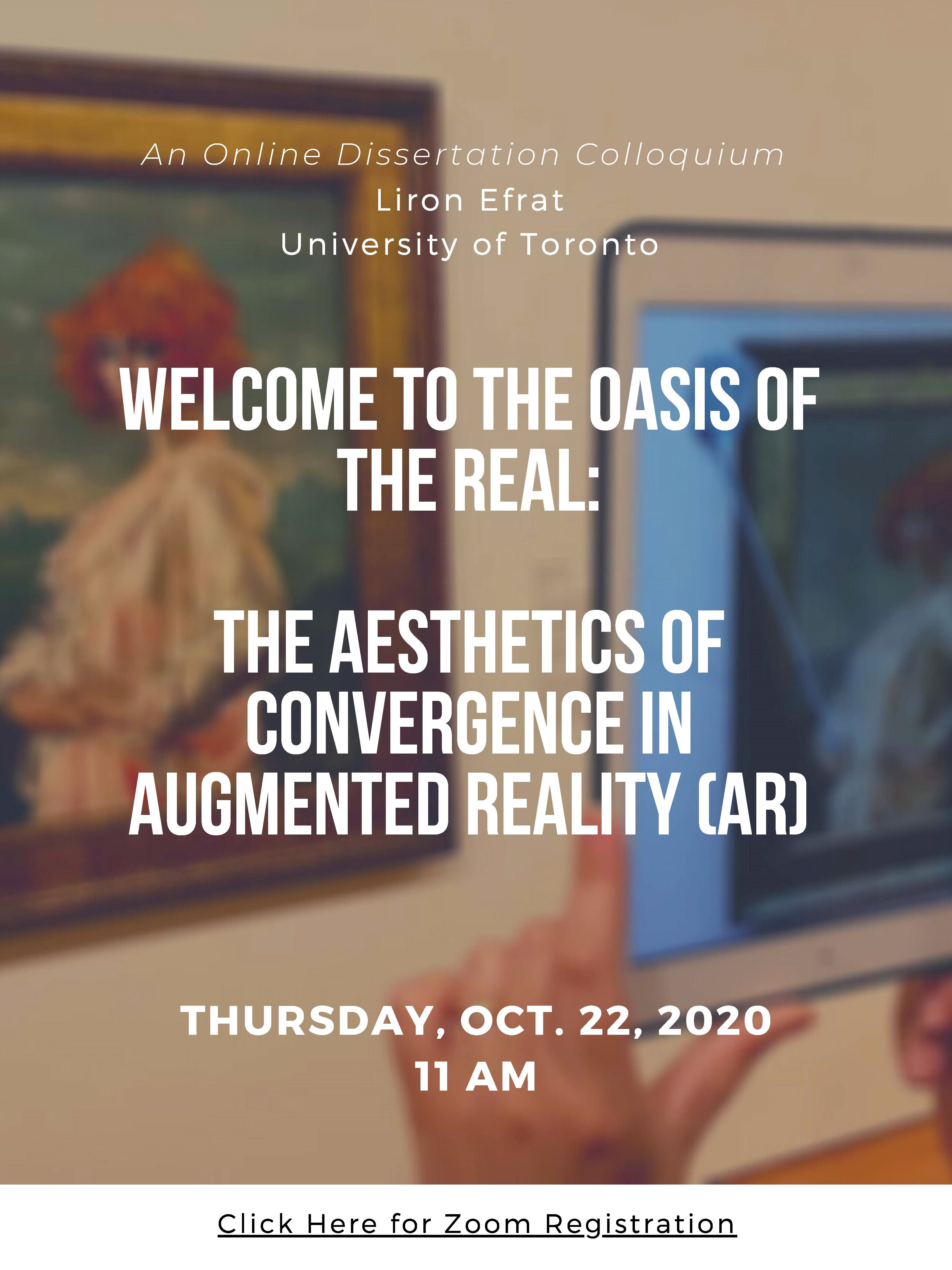 Welcome to the Oasis of the Real colloquium