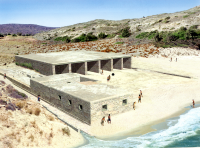 Restored shipsheds at Kommos, Crete, for storing long, rowed ships of the Minoan fleet.