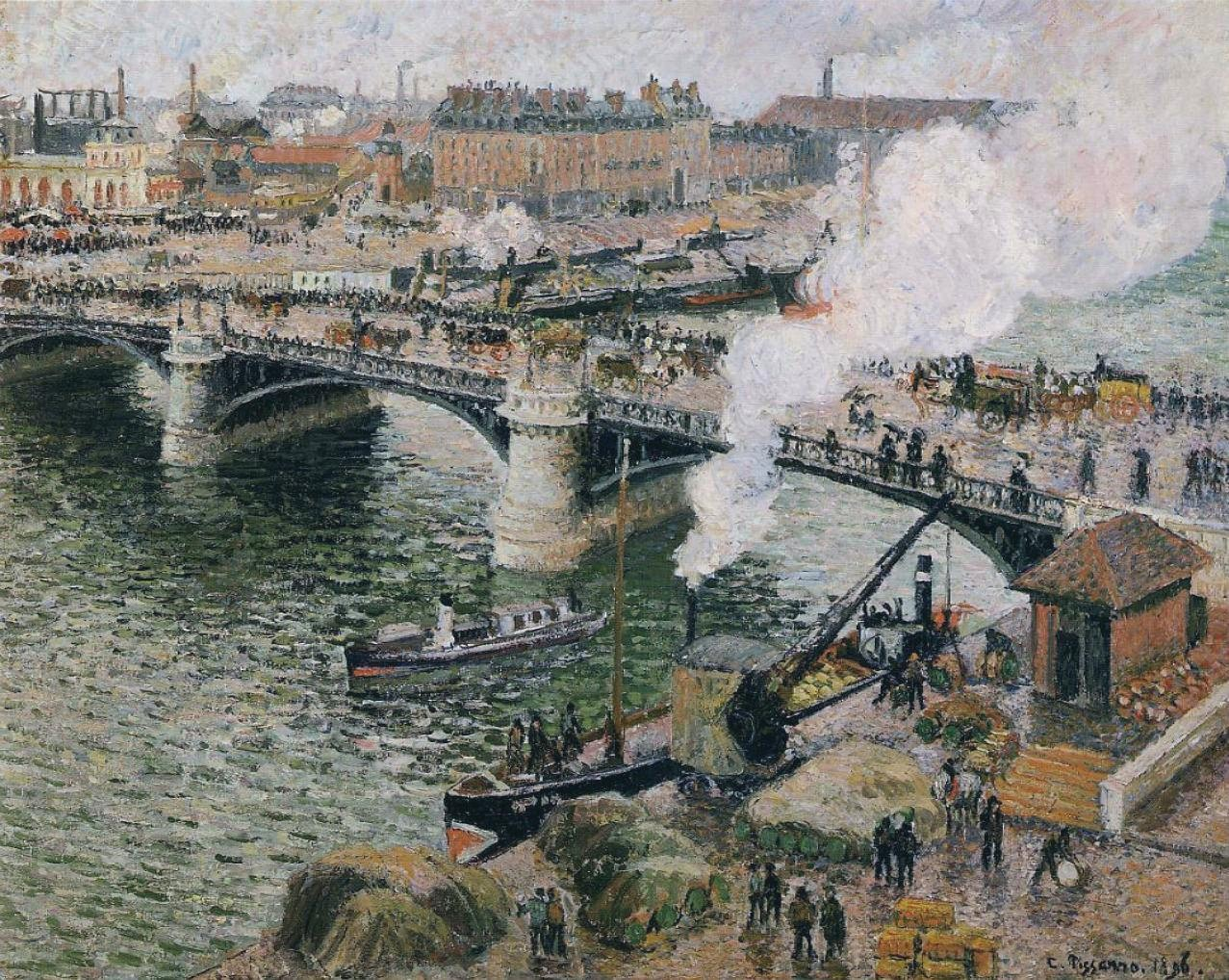 Camille Pissarro, Pont Boieldieu in Rouen, Rainy Weather, 1896, Art Gallery Ontario