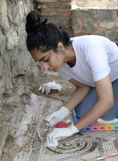 Prabhjeet Johal performing mosaic conservation at Stobi, Macedonia.