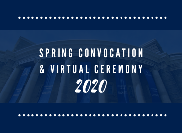 Text of Spring and Virtual Ceremony 2020 on a blue background.