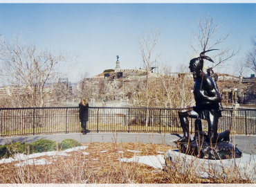"Jeff Thomas photograph titled ""Why Do Indians Always Have to Move?"" Samuel de Champlain Monument, Ottawa"