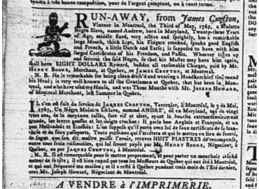 """Close up of newspaper item titled """"RUN-AWAY, from James Crofton,"""" Quebec Gazette, 14 May 1767, vol. 124, p. 4"""