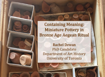 Colloquium info on top of images of small pots and pottery
