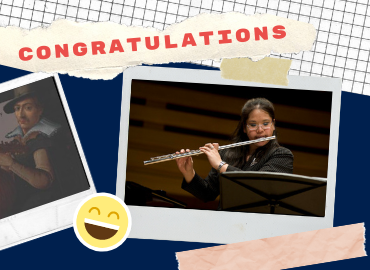 Congratulations text beside polaroid-type photo of Samantha Chang playing the flute