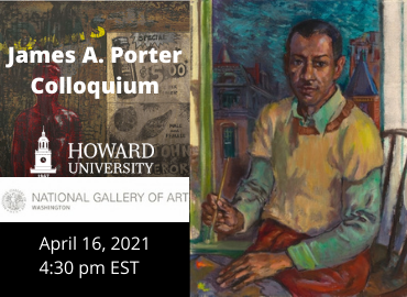 Text of event beside James A. Porter, Self-Portrait, 1957, oil on canvas,