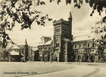 Black and white photograph of University College circa 1930