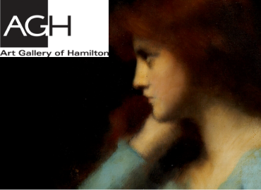 Detail of Contemplation (woman facing left and leaning on hand) by Jean-Jacques Henner facing AGH logo