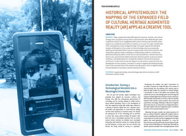 Historical APPistemology: The Mapping of the Expanded Field of Cultural Heritage AR Apps As a Creative Tool