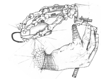 Pencil sketch of a skeletal hand with wires and UPC barcodes clicking a mouse and drawing a digitial and flesh hand beneth it while the hand beneath is drawing the skeletal hand with a pencil