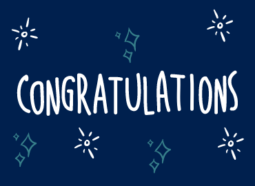 Congratulations text on blue background