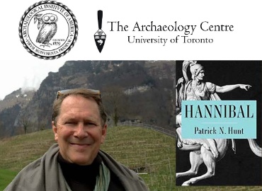 AIA and Archaeology Centre logos above image of Patrick Hunt in front of gradd and mountains