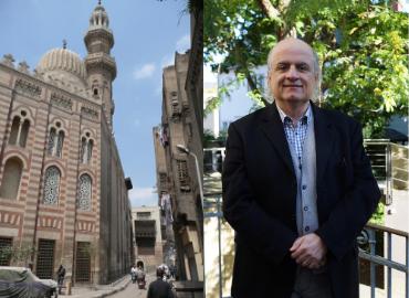 Close up of Cairo Madrasa of Umm al-Sultan Sha'ban 1368 Mamluk Domes & Minaret.