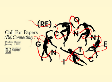 HASA call for papers text details beside image of the letters (RE)CONNECTIONS woven around clipart silhoettes of people in various dance positions