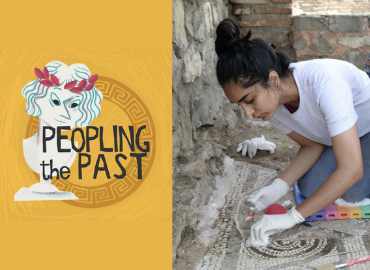 Peopling the Past logo beside photograph of Prabhjeet Johal performing mosaic conservation at Stobi, Macedonia