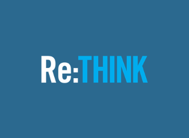 Re:THINK text logo on aqua background