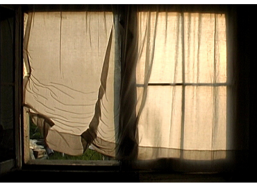 Screenshot of Michael Snow's Solar Breath (Northern Caryatids) (2002) of fluttering curtains that reveal and conceal an idyllic landscape in rural Newfoundland.