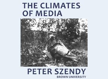 Szendy Lecture poster featuring grayscale picture of a pigeon wearing a camera vest.