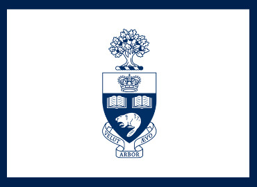 U of T coat of arms on white background with blue border