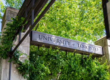 Engineering building with University of Toronto printed on its facade