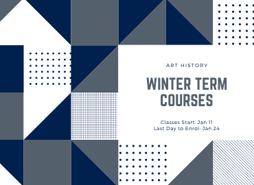 Blue and grey triangles, squares, lines, and dots surrounding Winter 2021 text